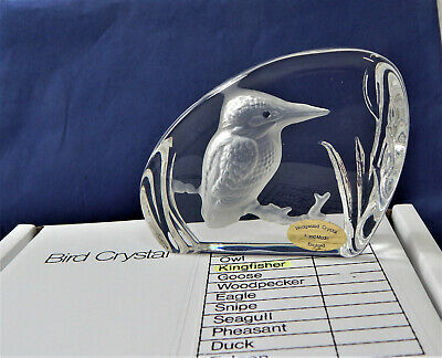 Wedgwood Glass Crystal Bird Paperweight KINGFISHER Sculpture Vintage Boxed