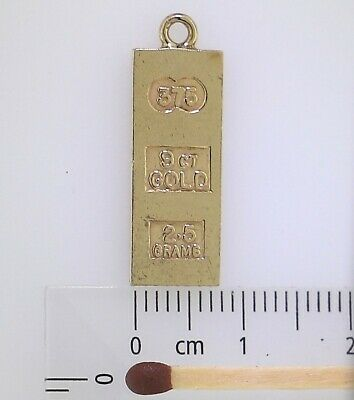 INGOT PENDANT ~ Guaranteed Genuine & Solid 9k Gold