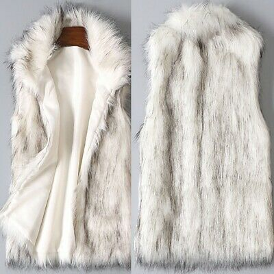 Women Lady Warm Wool Vest Fluffy Faux Fur Stand Collar Outwear Coat Jacket Gilet