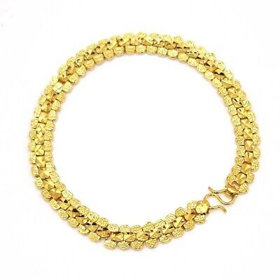 """18k Yellow Gold Filled Charm Bracelet 7.5""""Chain 7mm Link GF Fashion Jewelry Cool"""