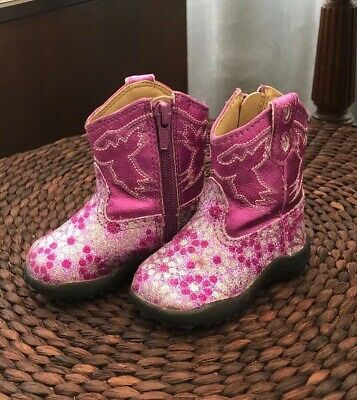 f22dbbd3c97 ROPER COWBOY BOOTS Size 10 Todder Girl's Pink & Brown Lights ...