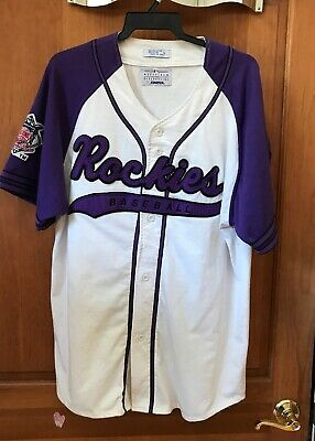 70d9dbc7f Vintage Colorado Rockies Throwback Script Baseball Starter Jersey Large