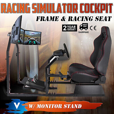 Racing Simulator Cockpit Gaming Chair W/ Monitor Stand Moveable Stable Anti-rust