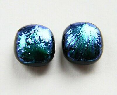 Genuine Hand Crafted Dichroic Glass Stud Earrings -  Peacock Green Texture