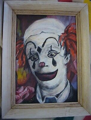 "Vintage Creepy Poko The Clown Painting on Canvas 1965 14"" x 10"" Signed L. Herman"