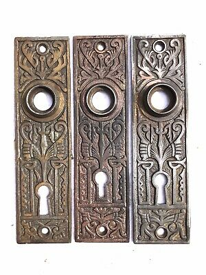 "B90 Antique Back Plate 5 1/2"" x 1 1/2"" Cast Iron Vintage Door Hardware Keyhole"
