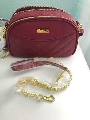 JOY & IMAN Diamond Quilted Genuine Leather Crossbody with RFID Red
