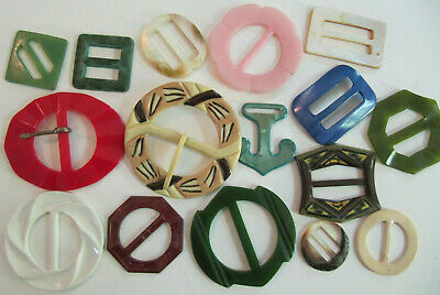 16 Vintage Celluloid Plastic Belt Buckles Scarf Slides mixed lot