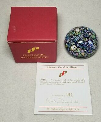 Rare Perthshire PP19a 1996 Paperweight W/Silouhette Millifiori on Black Ground
