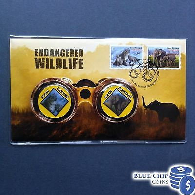 2016 Endangered Wildlife Snow Leopard And Asian Elephant 2 Medallion Cover Pnc