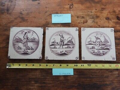 Dutch Delft Tiles From The 1700's Figural Set Of 3 Manganese