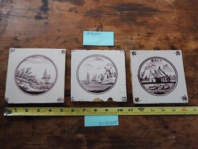 Dutch Delft Tiles From The 1700's Scenic Set Of 3 Manganese