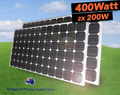 400 WATT 2x 200W Mono Solar Panel Home Power 12v 24v Fixed Kit Caravan Off Grid