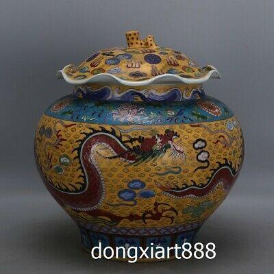 Chinese Porcelain pottery inlay cloisonne enamel Dragon Vase Pot earthen Jar Jug