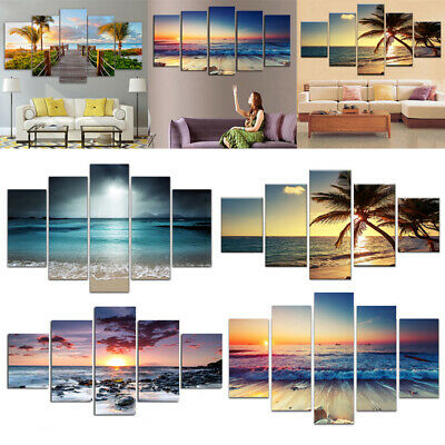 5Pcs Large Canvas Wall Pictures Oil Painting Print Modern Unframed Home Decor