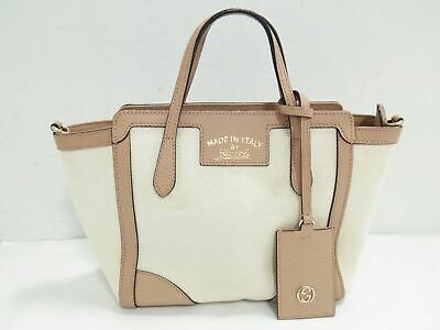 9a7a8a46cbf7e3 Auth GUCCI Swing Mini Leather Top Handle Bag 368827 Ivory Beige Handbag