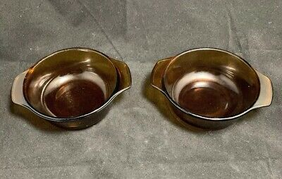 VINTAGE Pair Anchor Hocking FIRE KING marked Amber Brown 12 oz. Bowl H