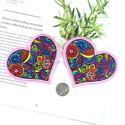 89051 Paisley Heart Pink Psychedelic Swirls Daisy Flowers Love Sew Iron On Patch