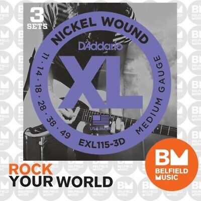 3 Pack of D'Addario EXL115 Electric Guitar Strings XL 11-49 Medium/Blues-Jazz