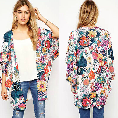 Womens Floral Loose Shawl Kimono Cardigan Batwing Sleeve Tops Jacket Coat Blouse