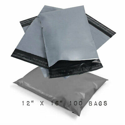 """100 BAGS - 12"""" x 16"""" STRONG POLY MAILING POSTAGE POSTAL QUALITY SELF SEAL GREY"""