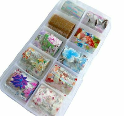 10 Designs Nail Foil Floral Starry Paper Manicure For Nails Art Transfer Sticker
