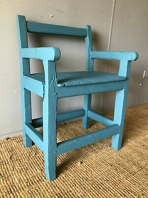 Chalk Painted Antique French Chunky Rustic Farmhouse Oak Armchair Dining Chair