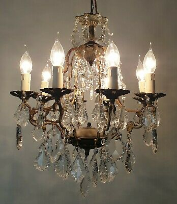c1910 8 Arm Crystal & Aged Brass Chandelier; Rewired FREE DELIVERY