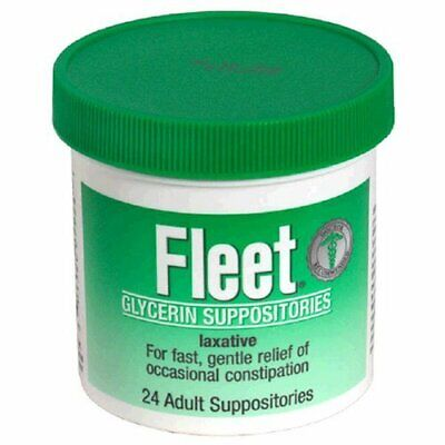 Fleet Glycerin Suppositories, Adult Size, 24-Count Boxes (Pack of 12)