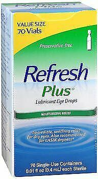 Refresh Plus Lubricant Eye Drops Single-Use Containers - 70 ea., Pack of 5