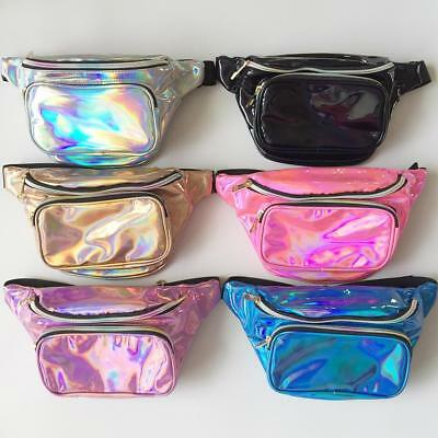 Holographic Fanny Pack Iridescent Rave Festival Waist Pack Crossbody Hip Bag New