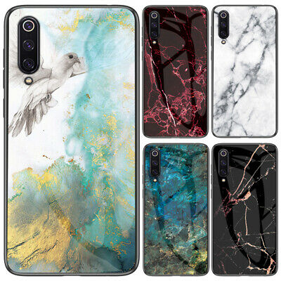 For Xiaomi Mi 9 8 SE A2 Lite A1 F1 Marble Tempered Glass Hybrid Hard Case Cover