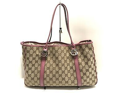 26f663a08403 Auth GUCCI Double G GG Twins 232957 Brown Ivory Purple Jacquard Leather  Tote Bag
