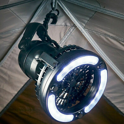 2IN1 Outdoor Camping Tent Hunging LED Light Lantern Fan Gear Equipment Foldable