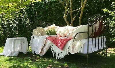 Large Antique Ornate Victorian French Metal Day Bed Single Bed Hand Wrought Iron