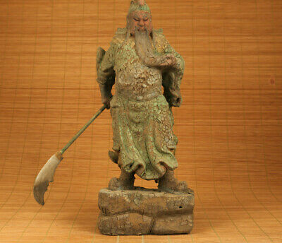Asian old boxwood Hand carved hero guan gong yu big statue figue with