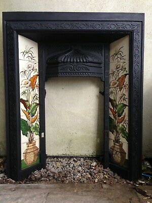 Original Victorian  Cast Iron Fireplace Inserts with Minton style Tiles x2