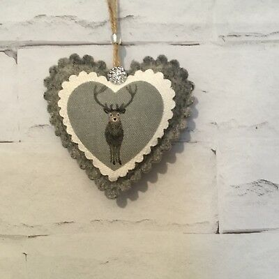 Sophie Allport Stag Fabric Hanging Door Heart Handmade Vintage Shabby Chic Gift