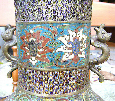 Antique Japanese Meiji Bronze Lamp With Dragons Cloisonne Enamel Jade Finial 25""
