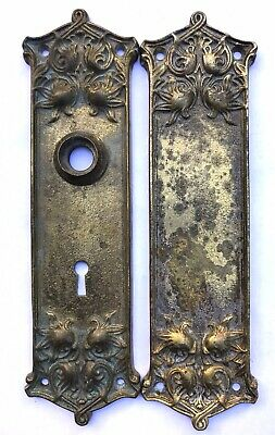 2 Heavy Antique Brass Doorknob Back Plates AAB CO Art Nouveau Reclaimed Hardware
