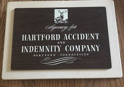 1960 Accident INSURANCE Hartford Connecticut Agency PLAQUE SIGN INDEMNITY