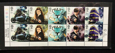 GB 2018- HARRY POTTER BLOCK OF 10 UNMOUNTED  MNH with endpapers date+colour code