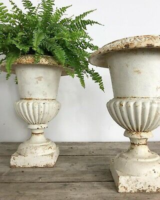 Superb Pair Of 19th Century Antique French Cast Iron Urns