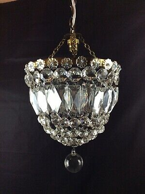 Stunning French Antique Half Bag Crystal Single Light Chandelier Ceiling Light