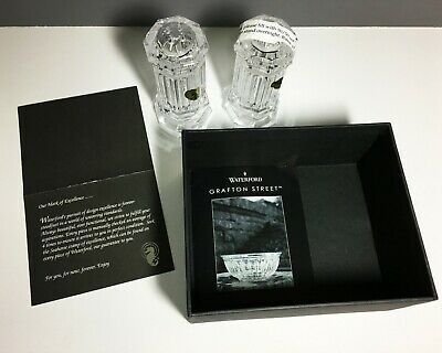 Waterford Crystal Grafton Street Bolton Salt & Pepper Shakers Signed NIB