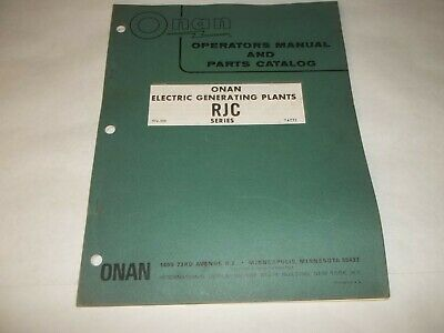 Onan RJC electric generating plants operators manual and parts catalog