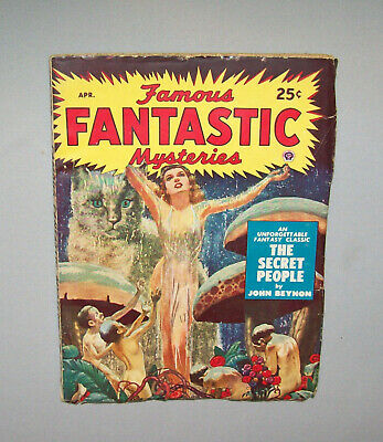 Old Antique Vtg 1950s Pulp Mag Magazine Famous Fantastic Mysteries Apr 1950 Nice