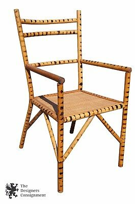 Chinese Chippendale Bamboo Accent Chair Tortoise Shell Spots Woven Rattan Seat