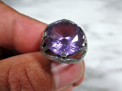 LG MID CENTURY BRUTALIST TAXCO EAGLE STERLING ALEXANDRITE COCKTAIL RING Sz 6 3/4