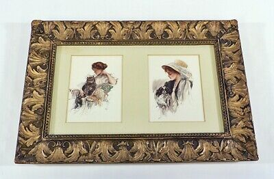 Small Antique French Baroque Gesso Picture Frame Harrison Fisher Prints
